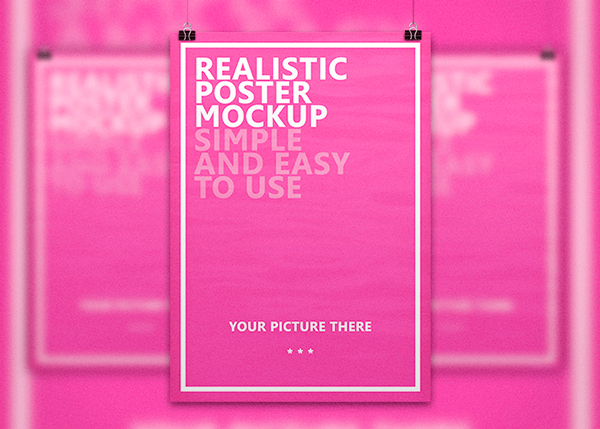 Realistic Poster Mockup PSD
