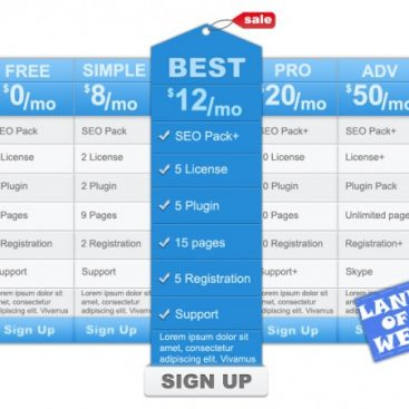 pricing tables psd