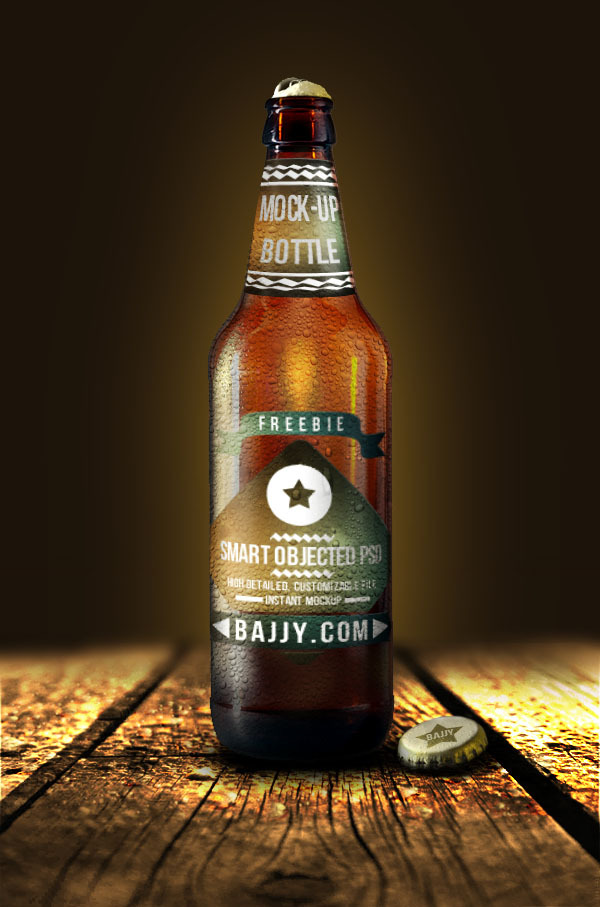 Fresh beer bottle mockup