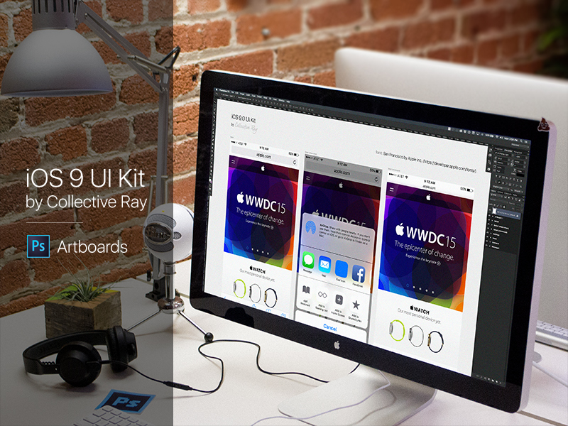 IOS 9 UI Kit - Free PSD