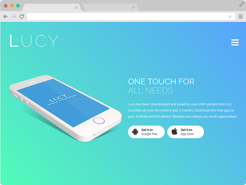 Lucy - The Best Free Responsive Bootstrap App Landing Page Template