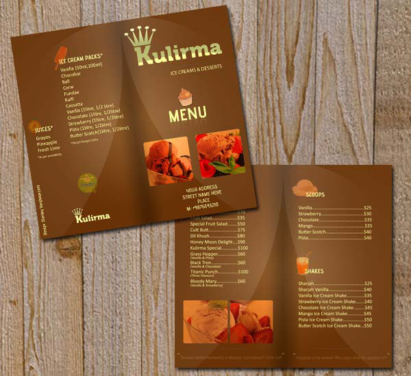 Restaurant Brochure cum Menu PSD Template #2