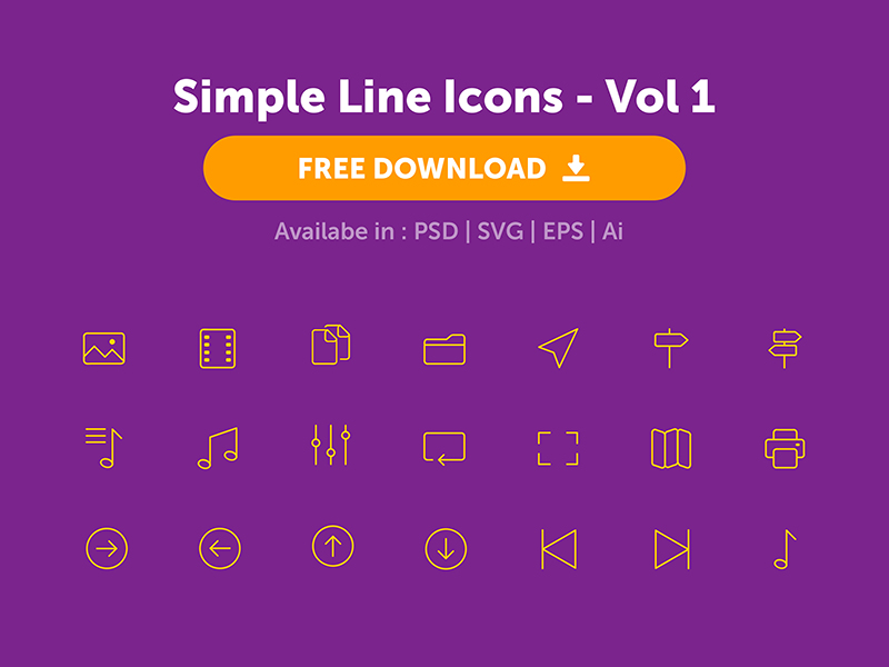 Simple and Minimal Line Icons - PSD EPS SVG and AI