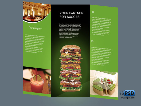 Tri-Fold Food Brochure Template PSD
