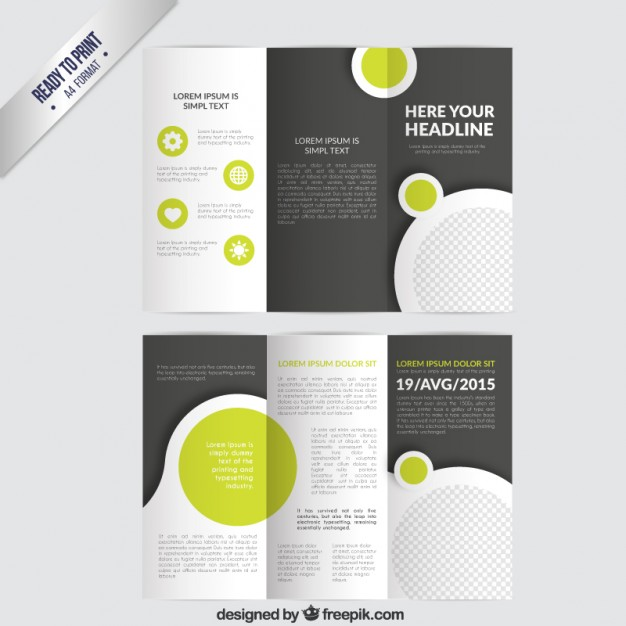 Tri Fold Vector Brochure Template With Circles