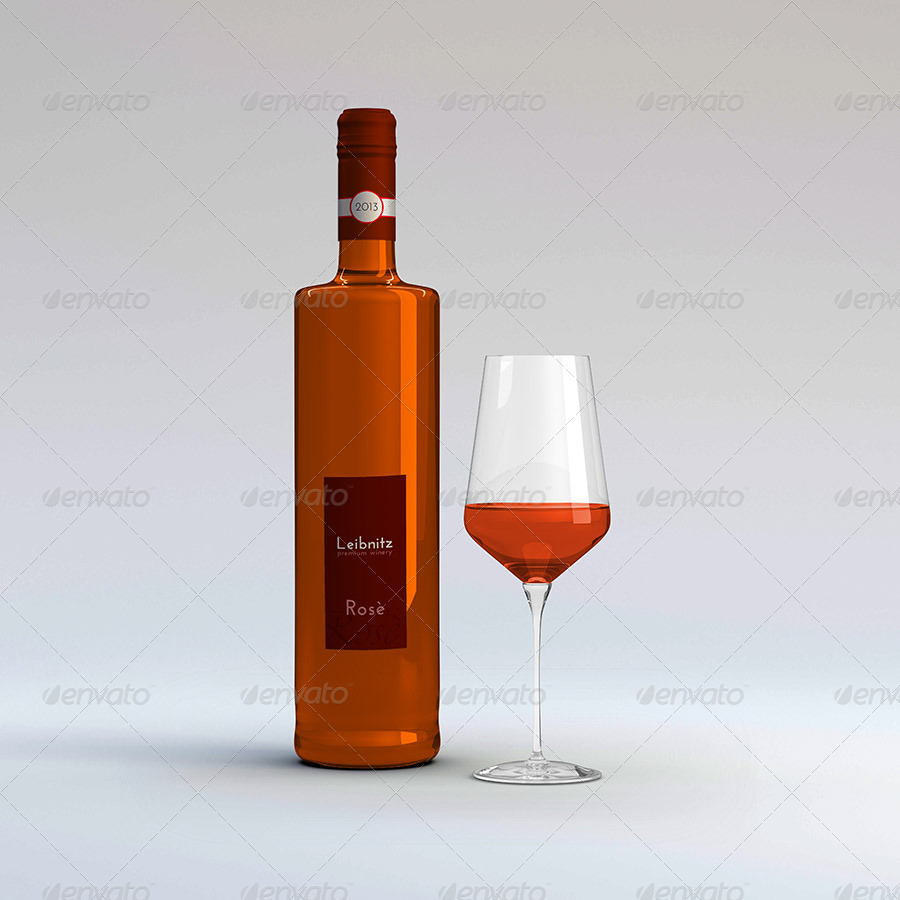 3 Wine Bottles v2 with Glass