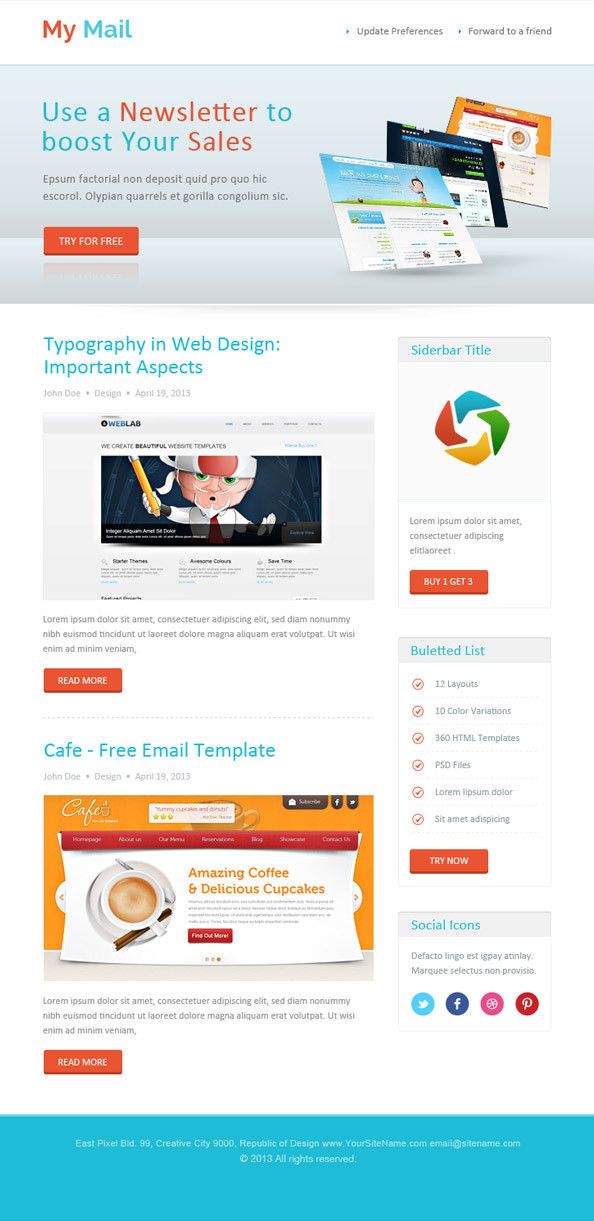 Abstract HTML Email Newsletter Template
