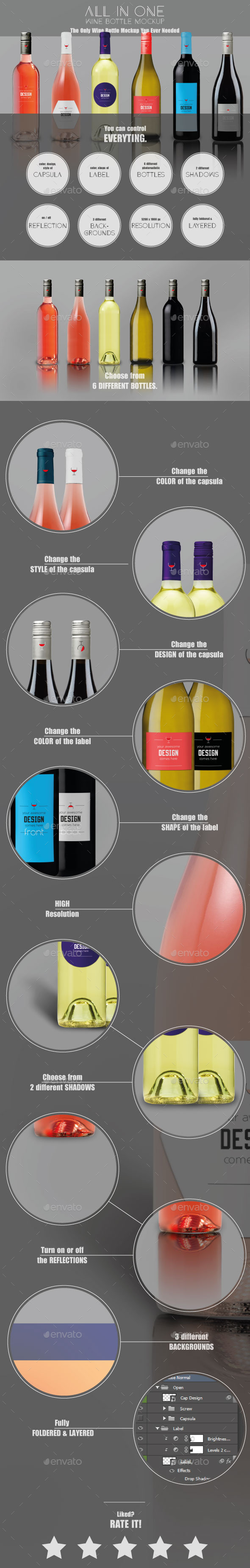 All-In-One Wine Bottle Mockup