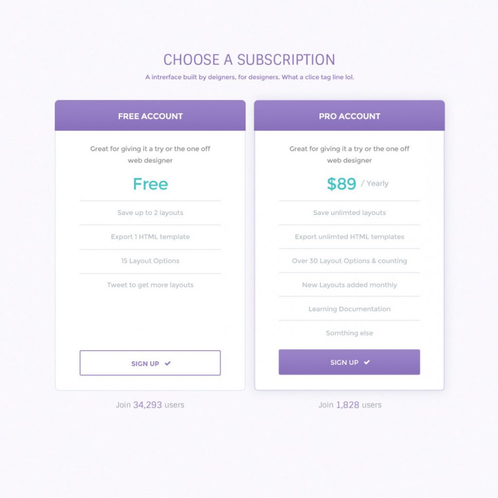 Clean Pricing Table PSD Photoshop Template