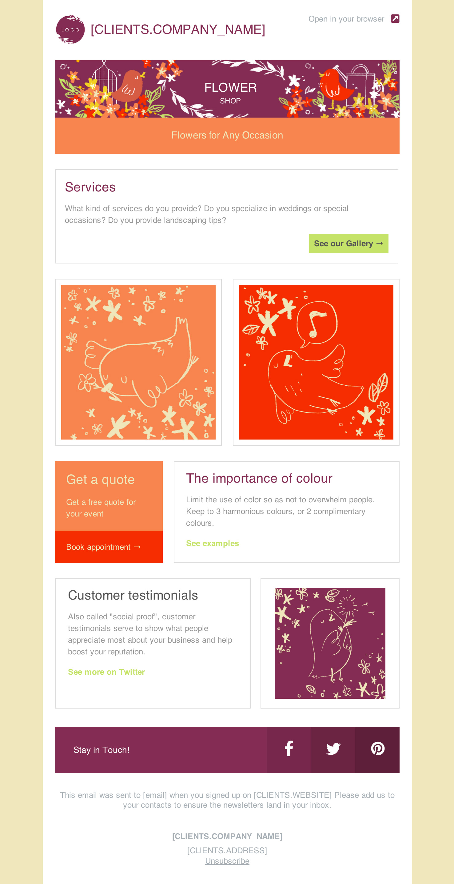 Florist Email Newsletter Template