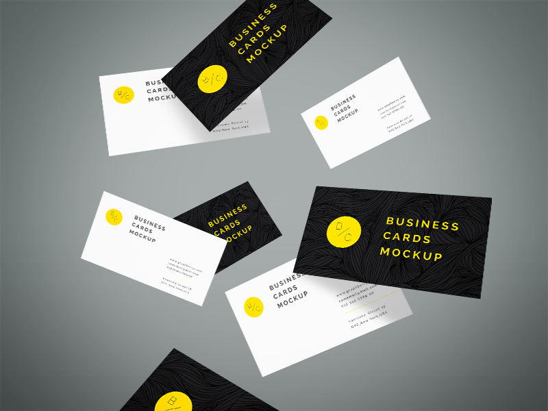 Flying Business Cards Mockup PSD