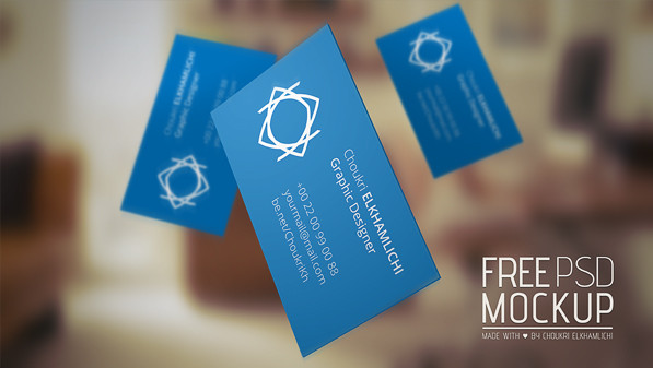 Flying business Card - Free PSD Mockup