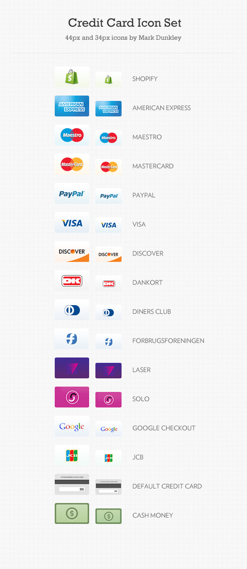 Free Credit Card Icons PNG