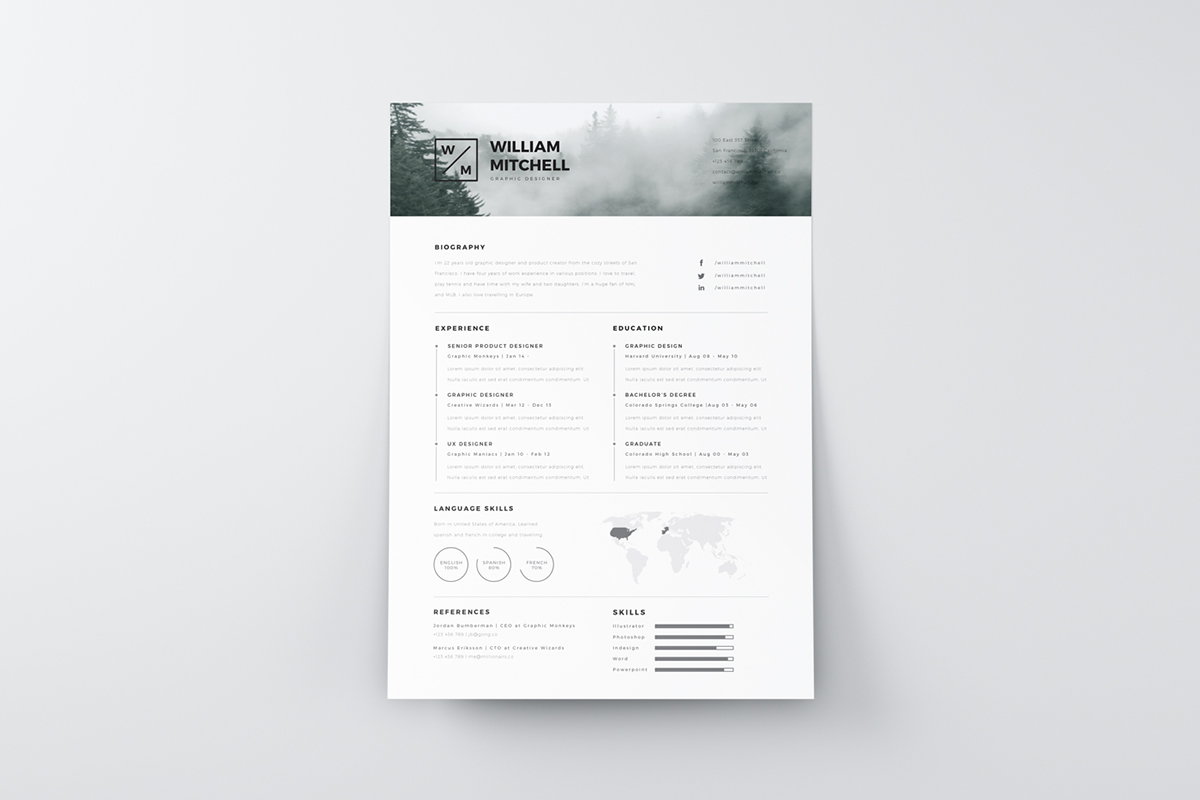 Free Minimalistic And Clean Resume Template PSD