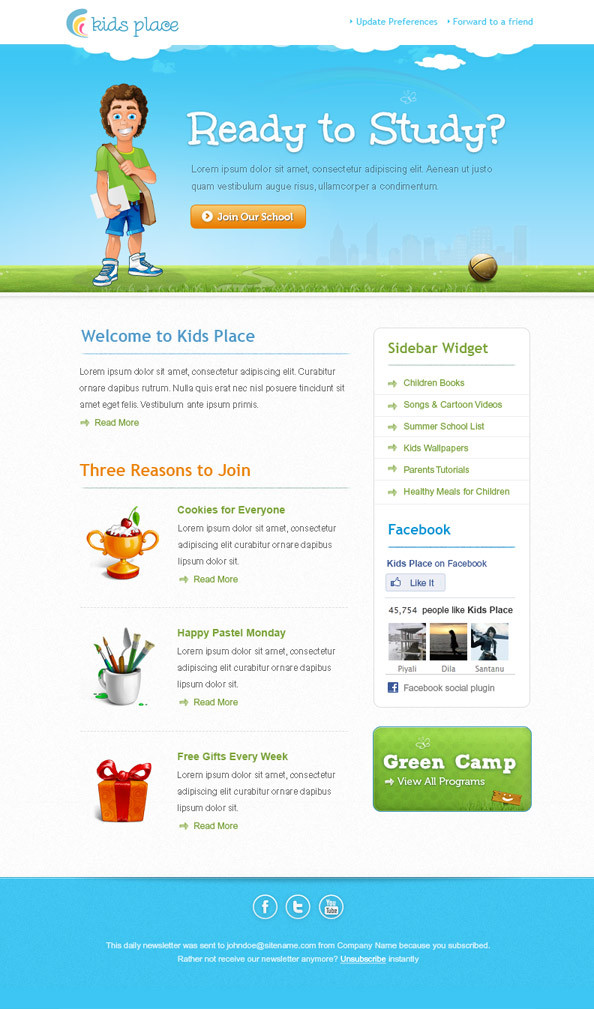 Kids Email Newsletter Template