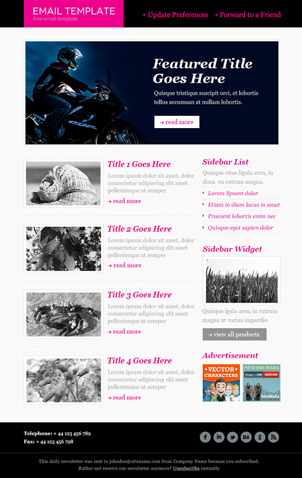 36 Best Email Newsletter Templates Free Psd Html Download