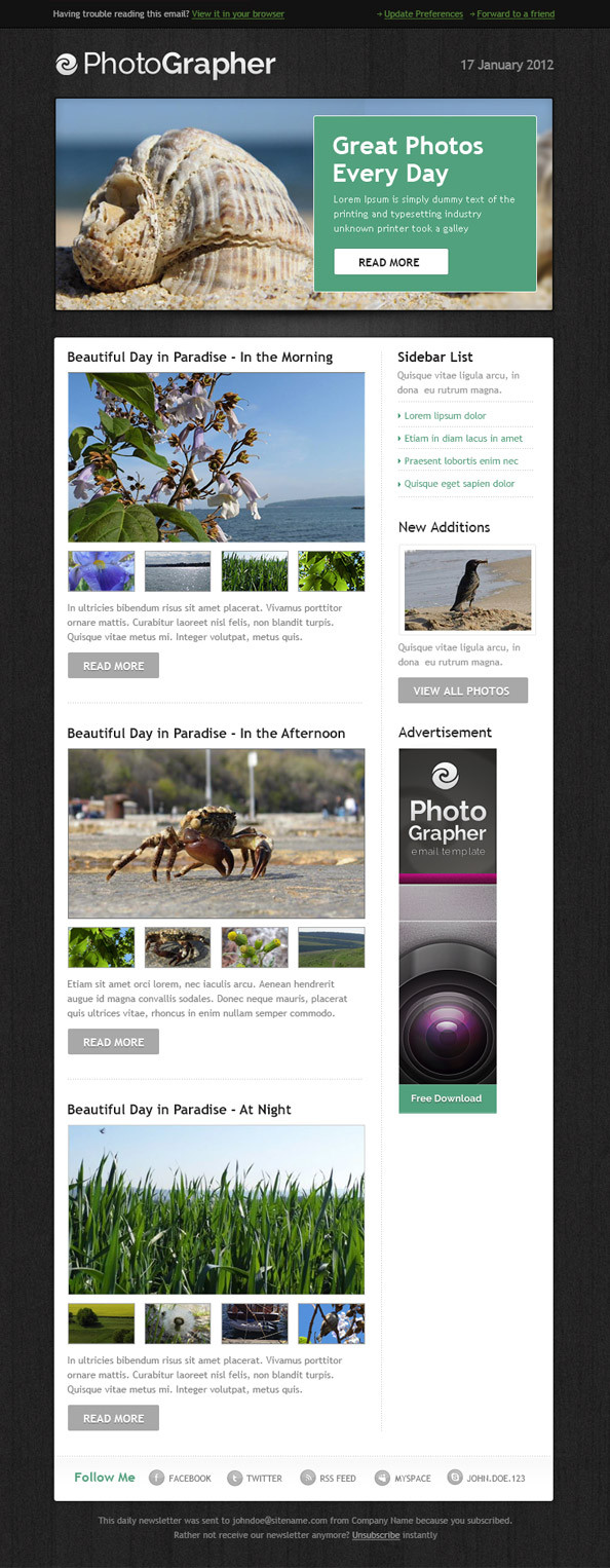 Photographer Email Newsletter Template