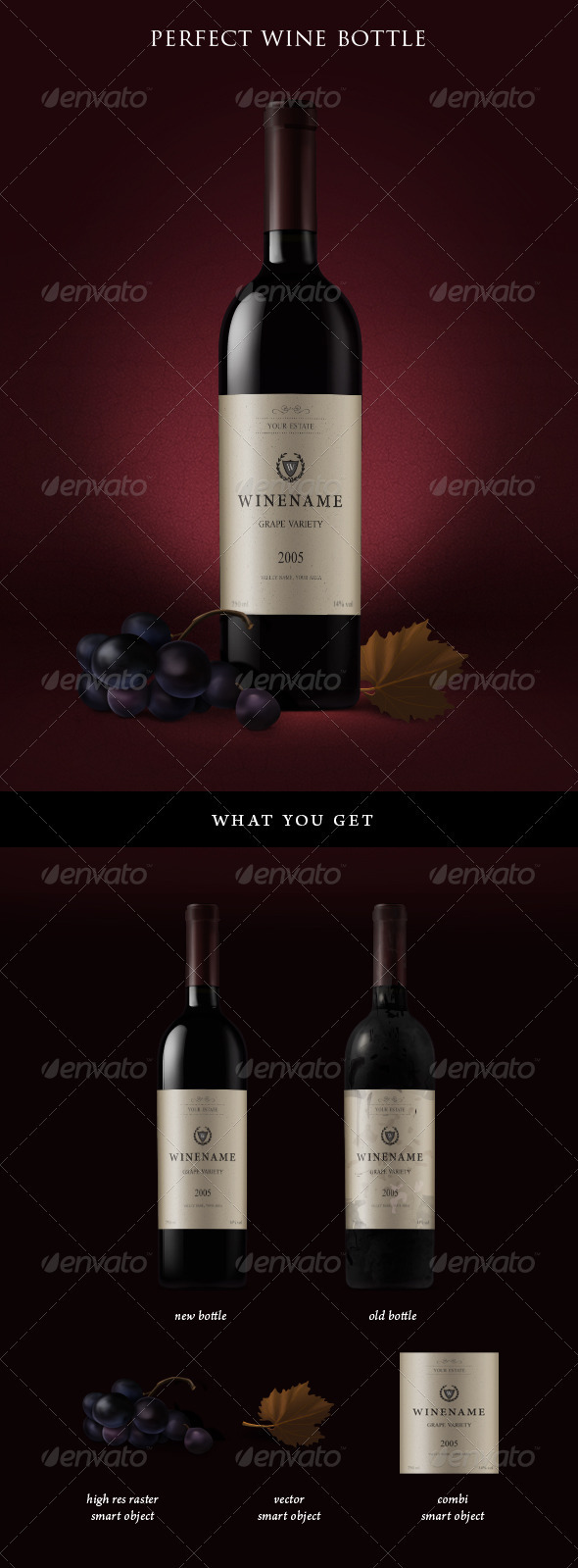 Red Wine Bottles and Grapes Mockup