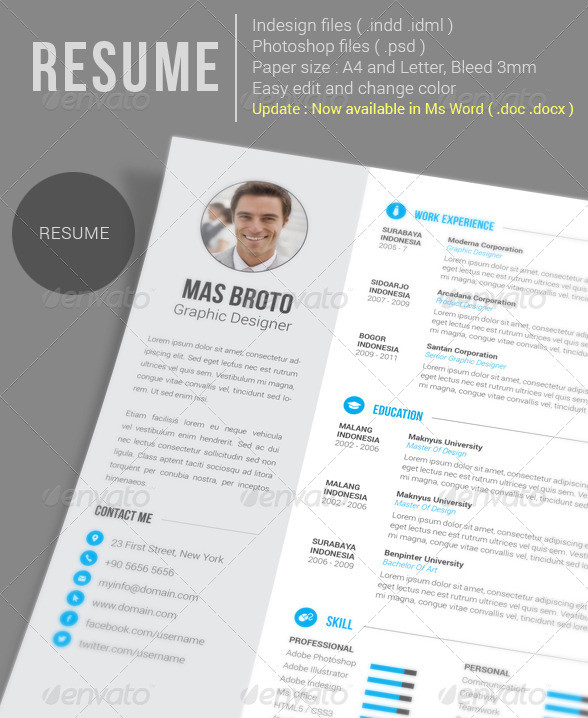 Resume Template PSD and InDesign