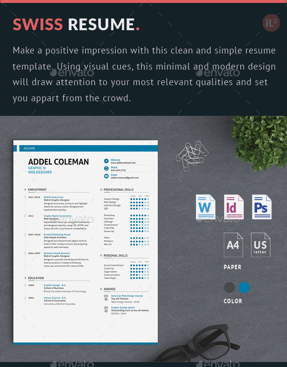 42  impeccable resume templates word psd indd ai download