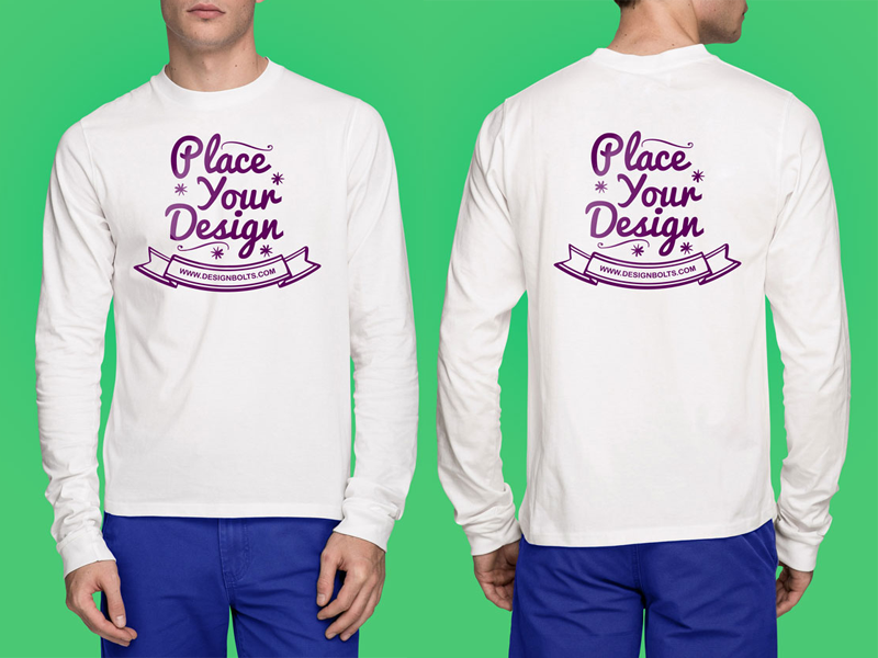 White T-Shirt Mockup PSD - Full Sleeves