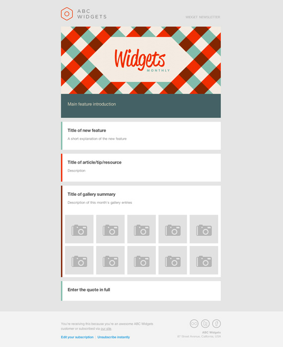 Widgets Email Newsletter Template