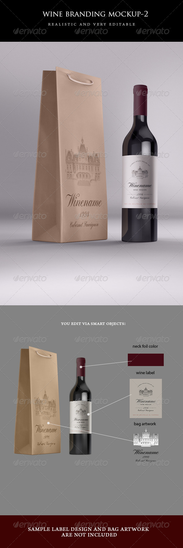 Wine Bag and Bottle Mockup