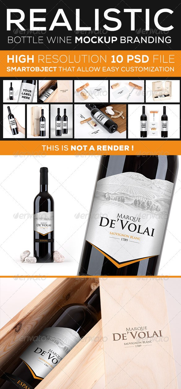 Wine Bottle Branding Mockup
