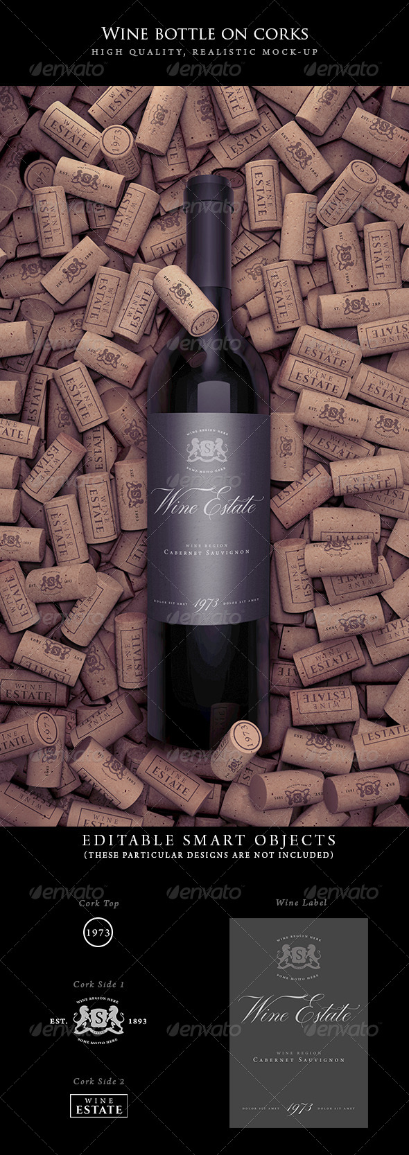 Wine Bottle on Corks Mockup