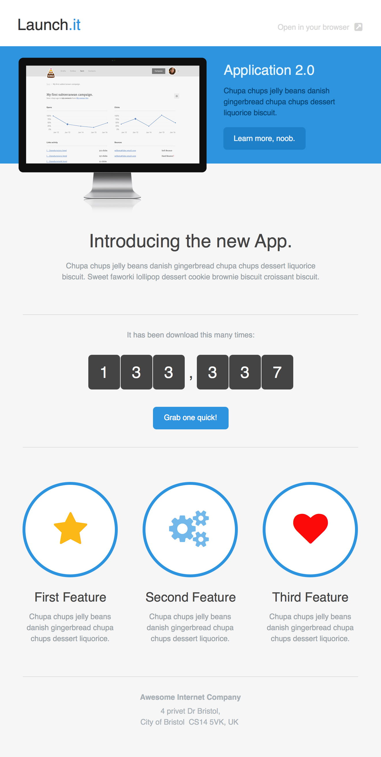 launch.it Email Newsletter Template