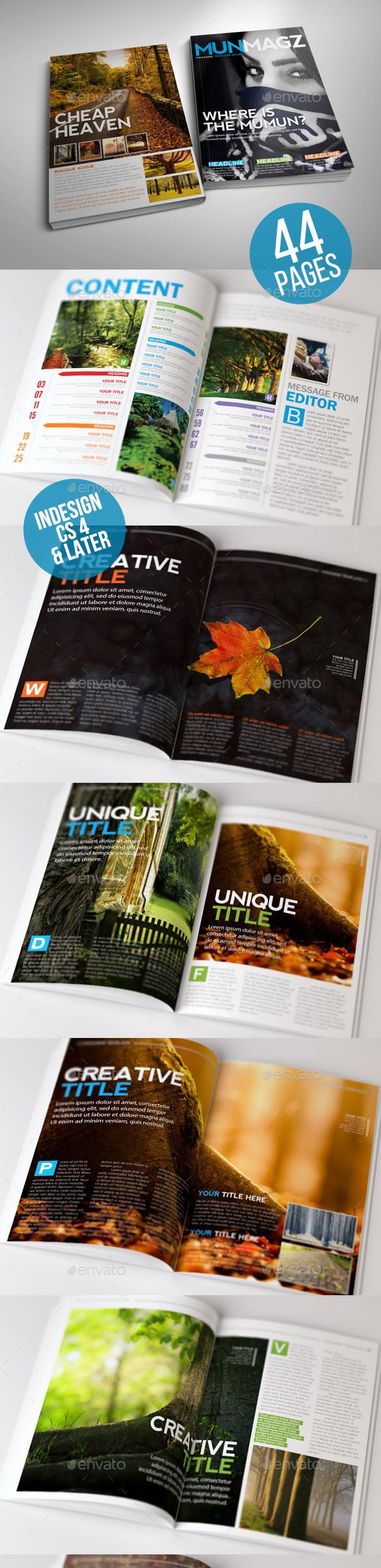 Clean and Simple Magazine Template 44 Page