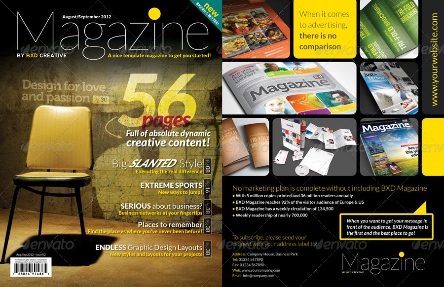 Magazine Template - InDesign 56 Page Layout V2