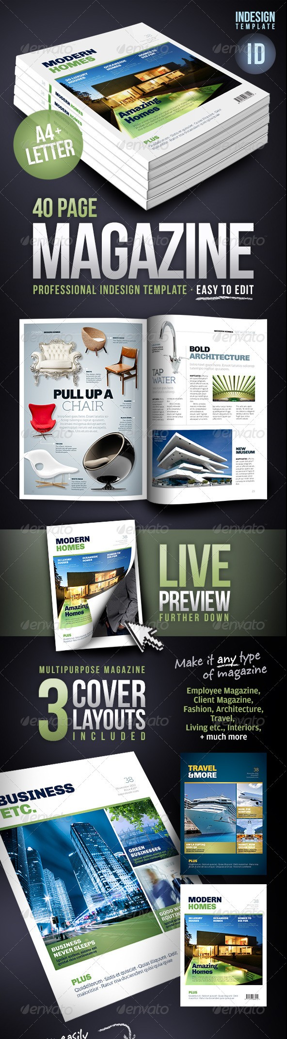 Multipurpose 40 Page Magazine Template - A4 + Letter