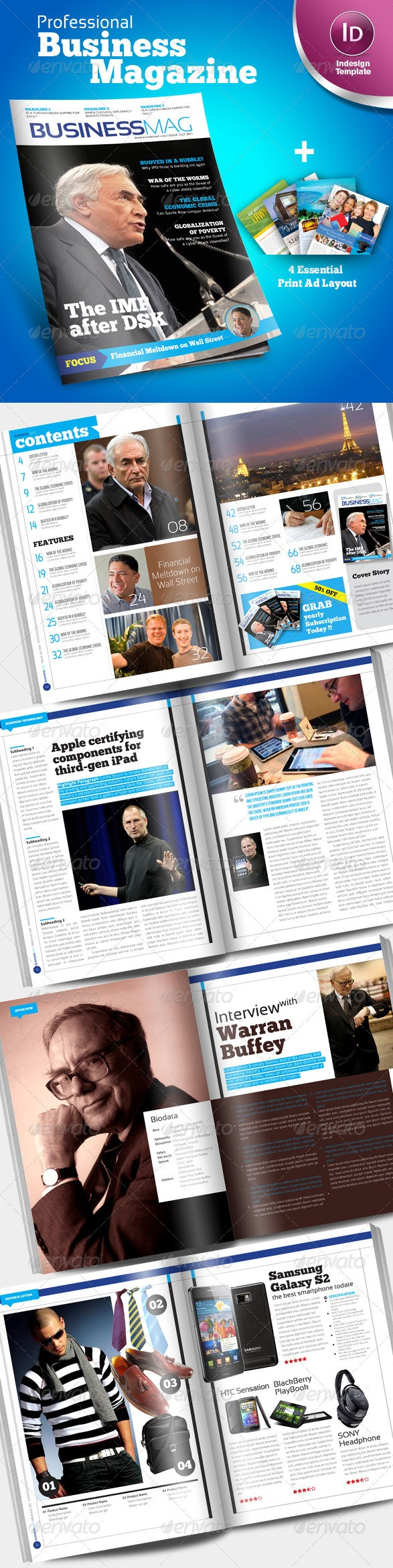 Professional Business Magazine Indesign template