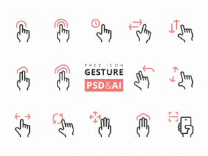 Touch Screen Gesture Icons PSD AI