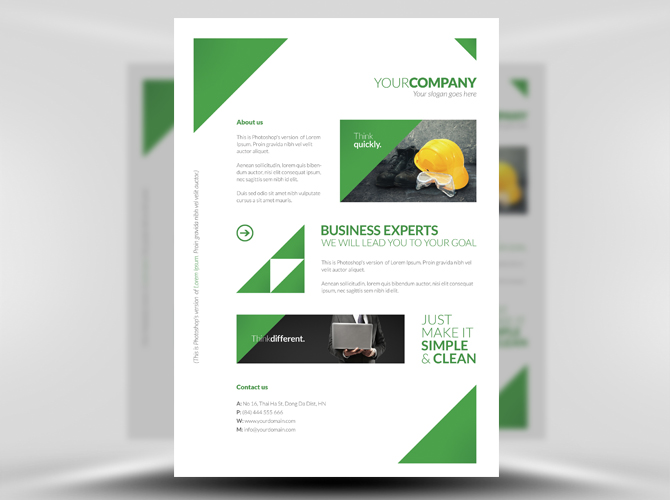 free clean corporate a4 flyer template