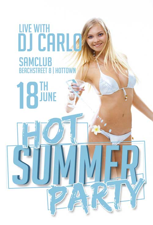 Free Hot Summer Party Flyer Template