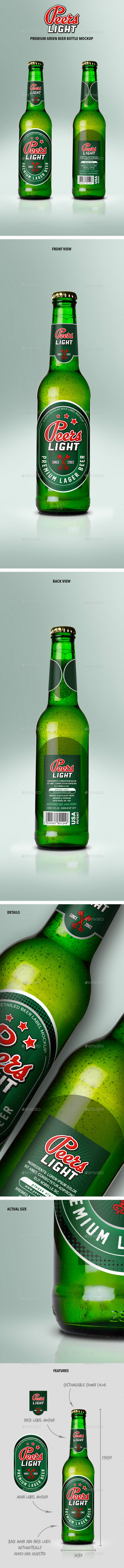 Premium Green Beer Bottle Mockup