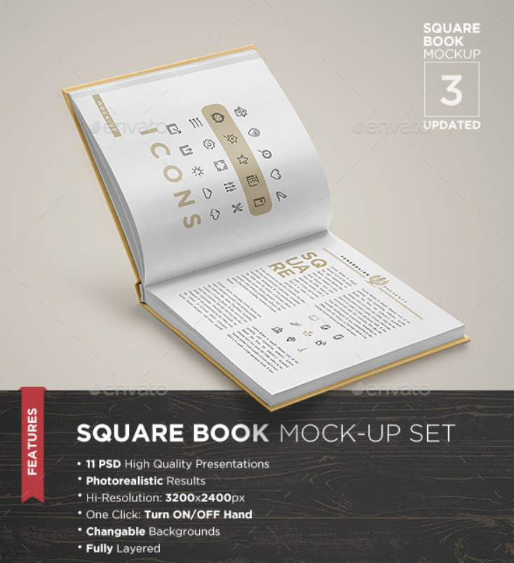 Square Book Mockup Set 3