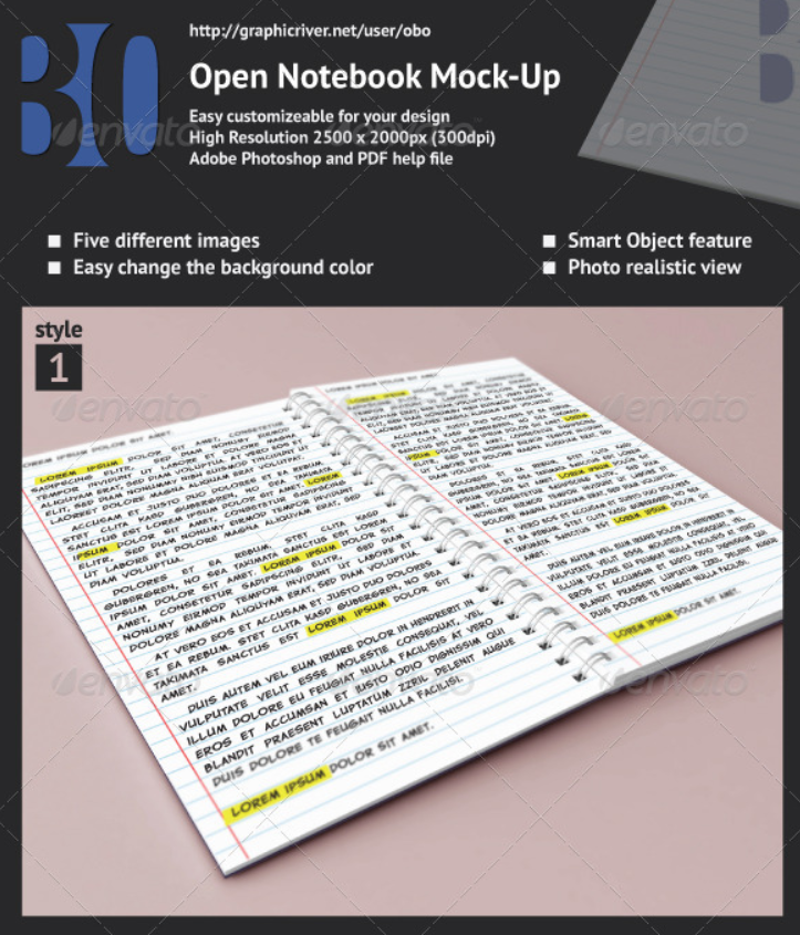 Open Spiral Notebook Mockup