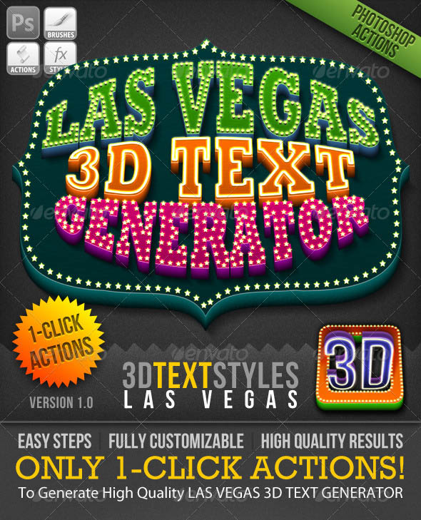 1-Click Action: Las Vegas 3D Text Generator