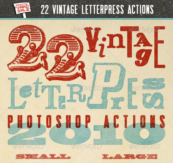 22 Vintage Letterpress Photoshop Actions