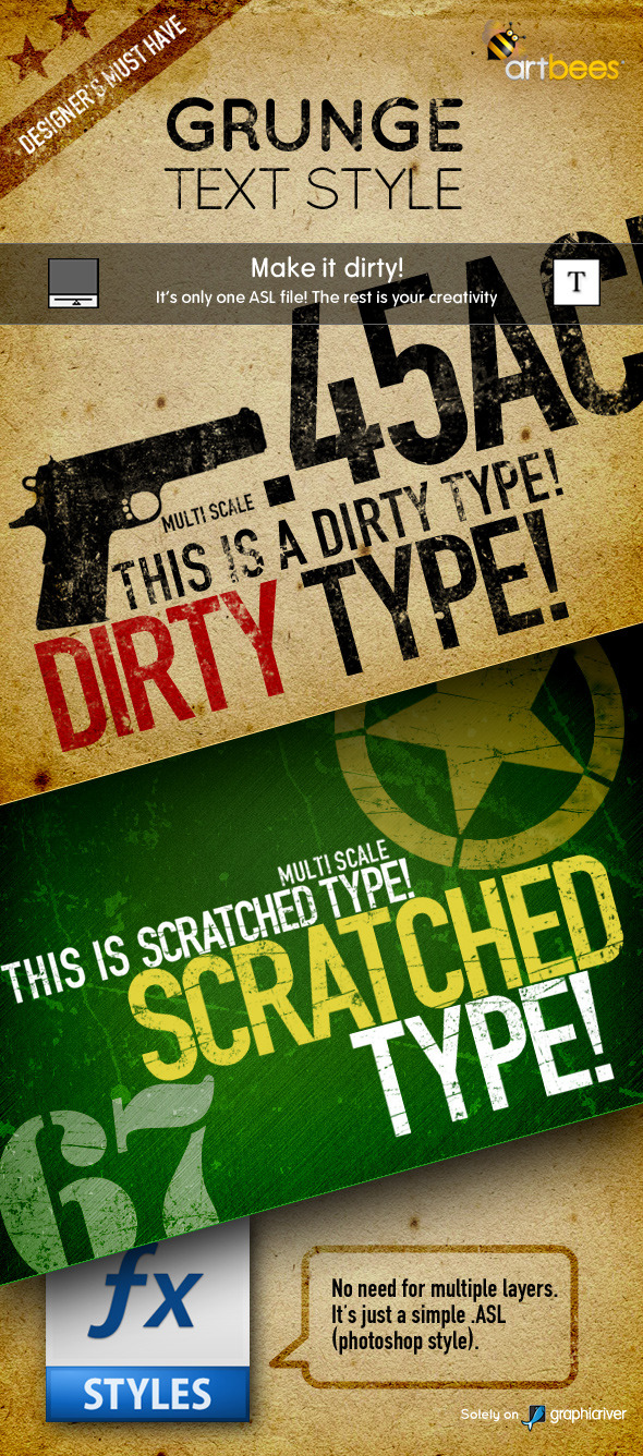 Artbees Grungy Text Styles - Dirty & Scratched