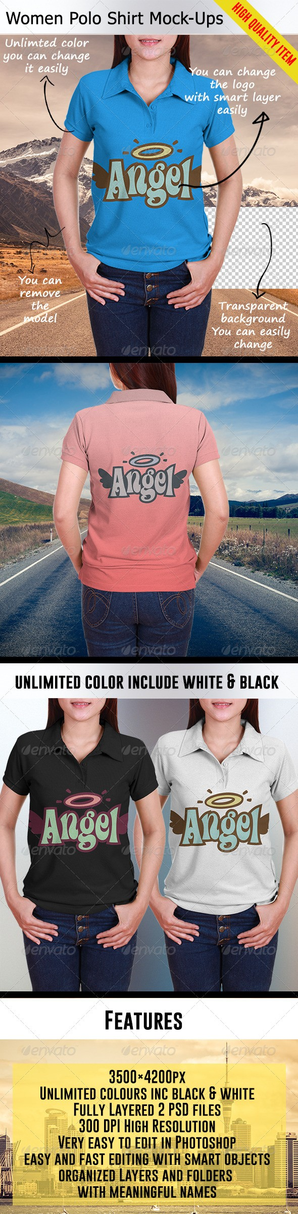 Women Polo Shirt Mockups