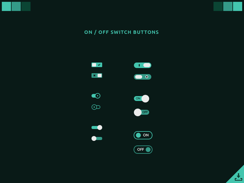 Free On and Off Switch Buttons UI PSD