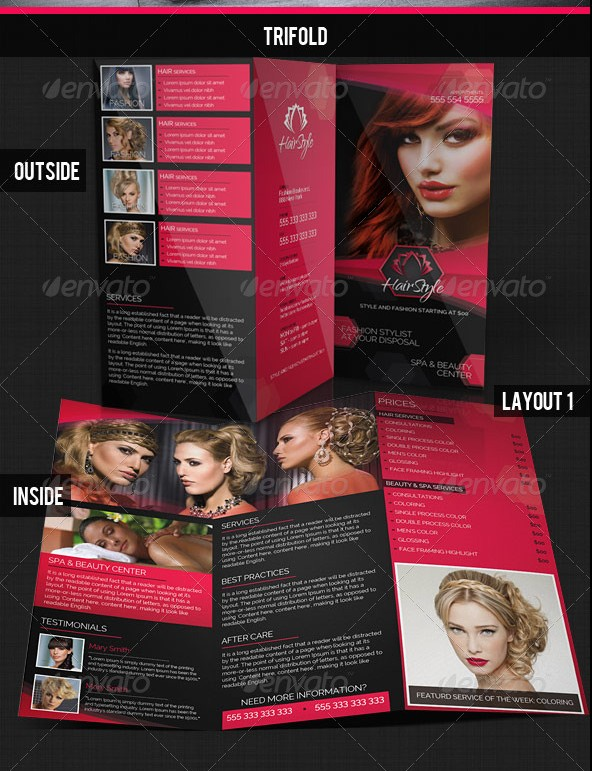 Hair Salon Fashion Style Bi-Fold & Tri-fold Brochures