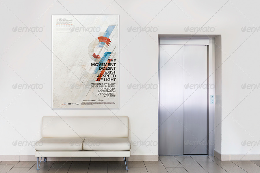 Photorealistic Gallery Poster Mockup
