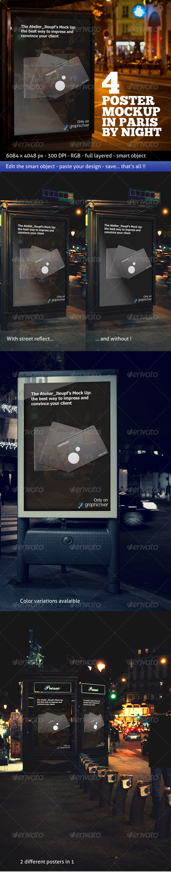 Photorealistic Poster Mockup In Paris By Night
