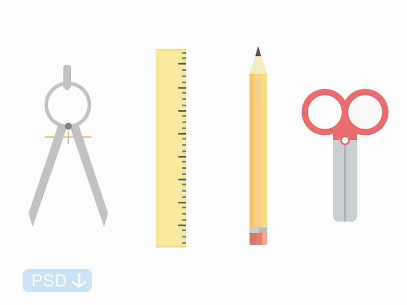 School Icons PSD