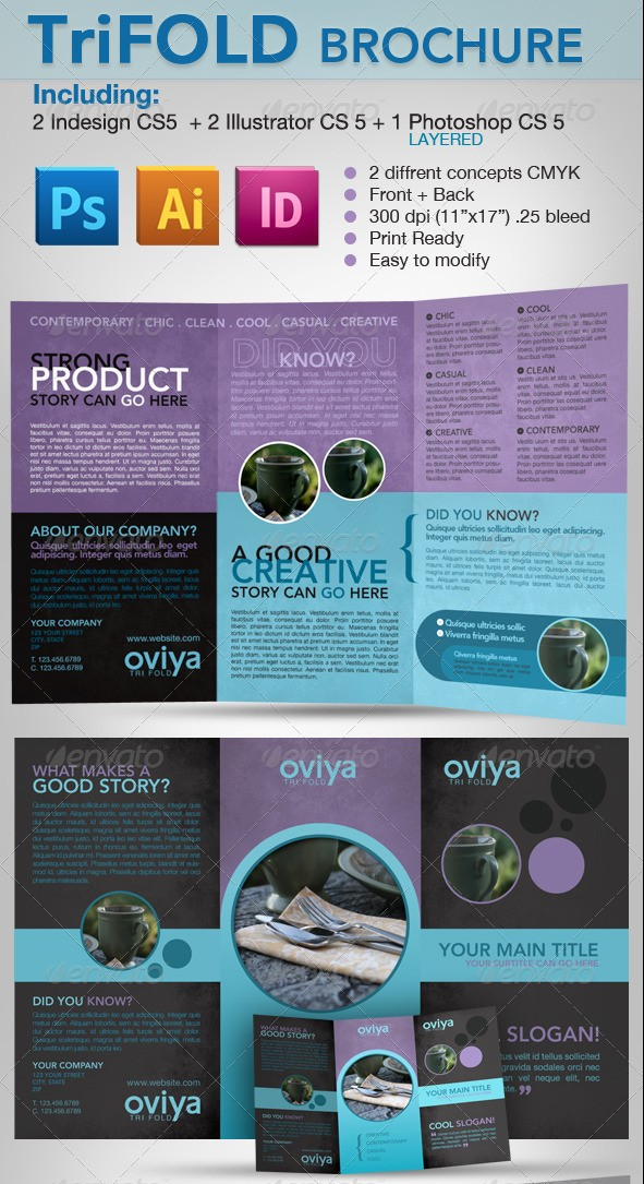 Tri-fold Brochure - Indesign, Illustrator & photoshop